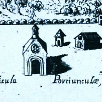 Sacra Aedicula Portiunculae, engraving by Francesco Providoni (1704). Detail.